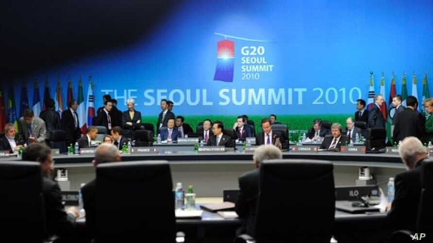 Scene at opening session of G20 Summit in South Korea, 11 Nov 2010