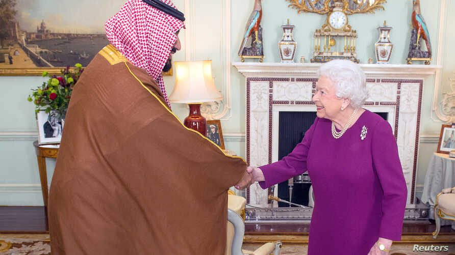 Britain's Queen Elizabeth greets Mohammed bin Salman, the Crown Prince of Saudi Arabia, during a private audience at Buckingham Palace in London, Britain, March 7, 2018.