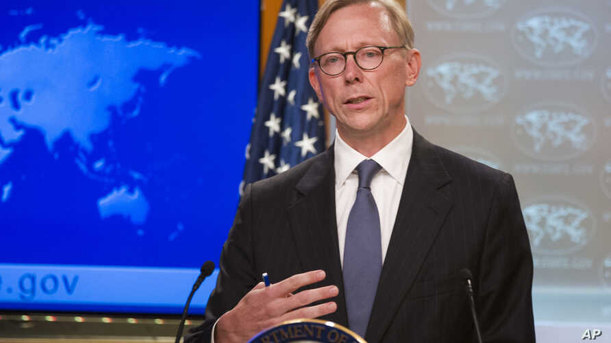 Brian Hook, special representative for Iran, speaks about the creation of the Iran Action Group at the State Department, in Washington, Aug. 16, 2018.