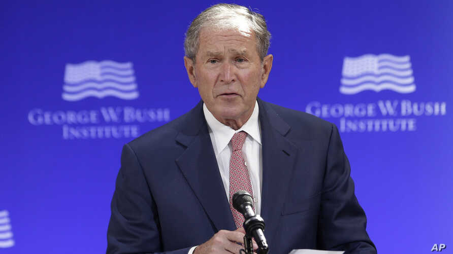 Former U.S. President George W. Bush speaks at a forum sponsored by the George W. Bush Institute in New York, Oct. 19, 2017.