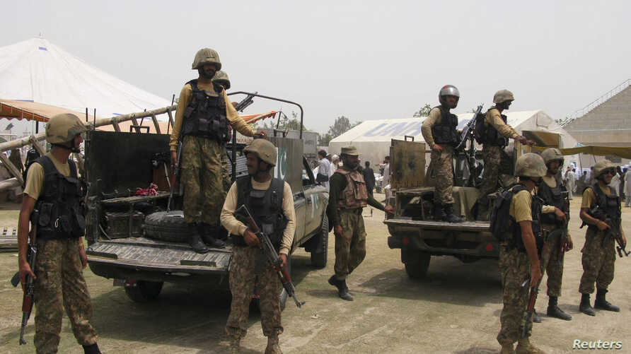 FILE - Pakistani soldiers are seen in the country's Khyber tribal region.