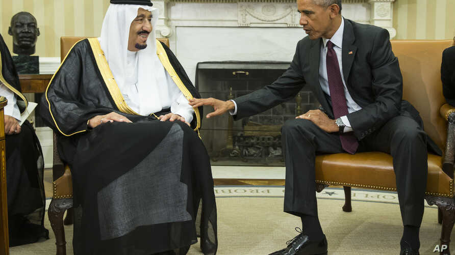 President Barack Obama, right, meets with King Salman of Saudi Arabia in the Oval Office of the White House, on Friday, Sept. 4, 2015, in Washington. The meeting comes as Saudi Arabia seeks assurances from the U.S. that the Iran nuclear deal comes wi