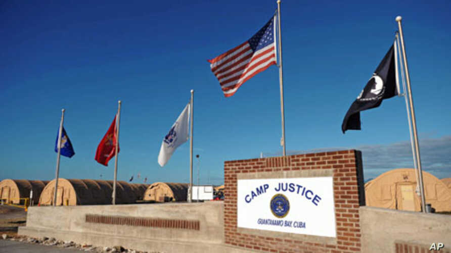 A 'Camp Justice' sign near the high-tech, high-security courtroom, which will hold the trial for the five co-defendants on charges related to the September 11 attacks, at Camp Justice in Guantanamo Bay, December 2008. (file photo)