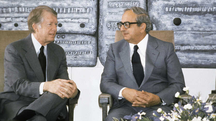 FILE - Then Presidents Jimmy Carter, left, of the United States and Yitzhak Navon of Israel meet in Jerusalem, March 11, 1979. Navon, who served as Israel's fifth president, died Nov. 7, 2015, his family said. He was 94.