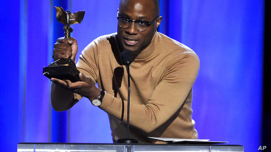 "Barry Jenkins accepts the award for best director for ""If Beale Street Could Talk"" at the 34th Film Independent Spirit Awards, Feb. 23, 2019, in Santa Monica, Calif."
