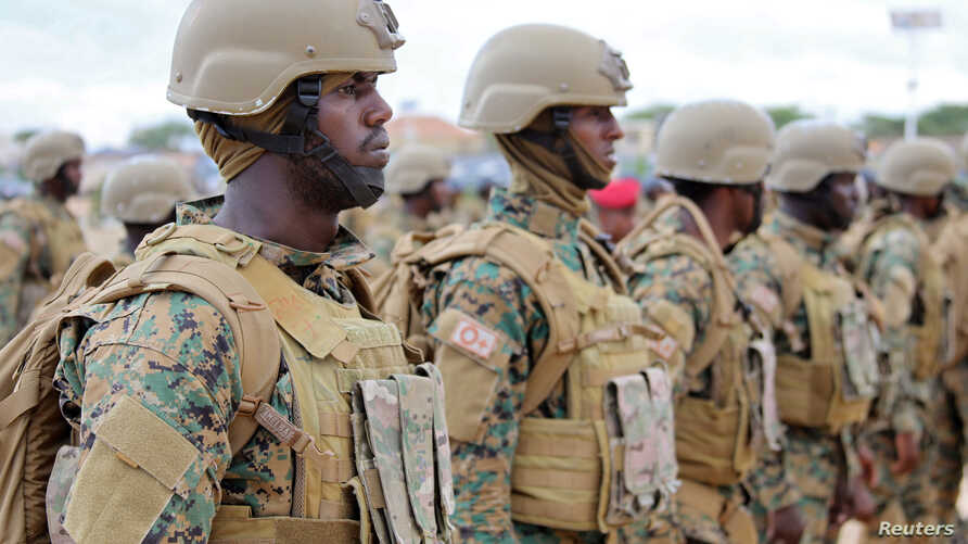 Somali military officers attend a training program by the United Arab Emirates at their military base in Mogadishu, Somalia November 1, 2017.