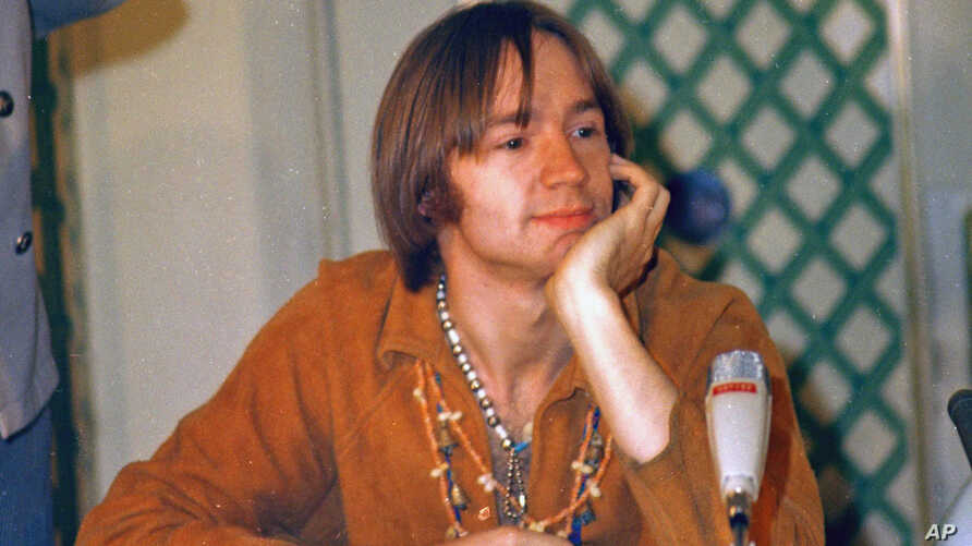 FILE - Peter Tork of the pop group The Monkees is shown at a press conference at the Warwick Hotel in New York, July 6, 1967.