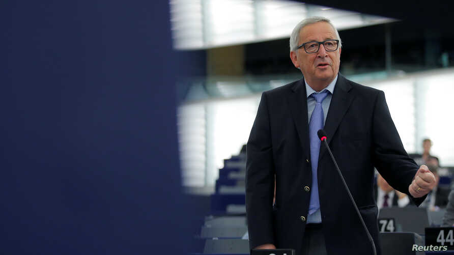"FILE - European Commission President Jean-Claude Juncker delivers a speech during a debate on the future of Europe at the European Parliament in Strasbourg, France, May 30, 2018. Juncker on May 31 called U.S. tariffs on steel and aluminum imports ""un"