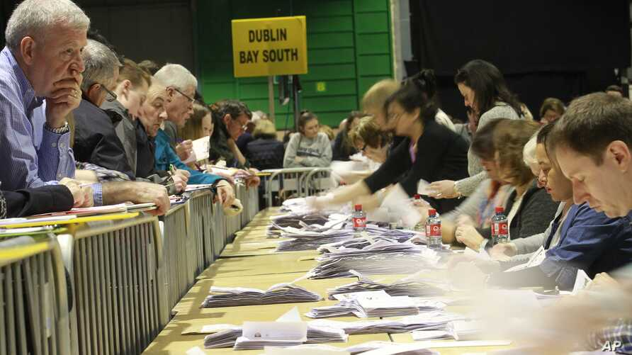 Counting gets under way in Dublin, Ireland, Feb. 27, 2016.