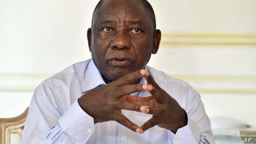 In this photo supplied by the South African Government Communications and Information Services (GCIS) newly-elected South African President Cyril Ramaphosa, prepares for his State of the Nation address, Feb. 16, 2018.