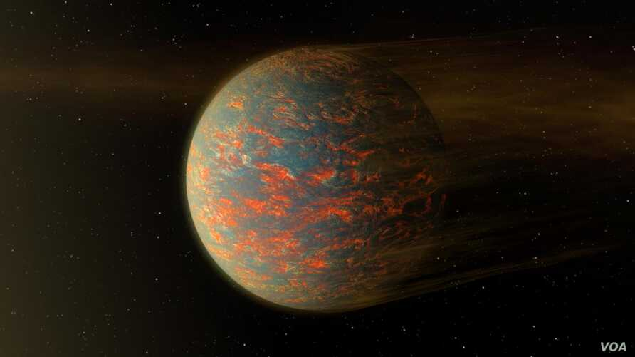 This artist's illustration of 55 Cancri e shows what scientists think is one side of the planet that may be molten lava.
