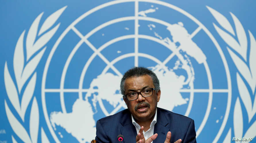 FILE - Director-General of the World Health Organization (WHO) Tedros Adhanom Ghebreyesus gives a news conference at the United Nations in Geneva, Switzerland, Aug. 14, 2018.