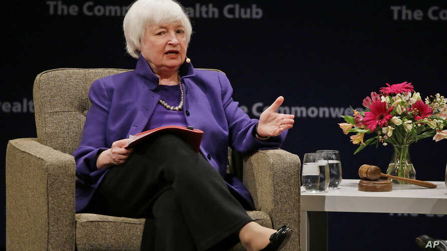 Federal Reserve Board Chair Janet Yellen answers questions during a meeting of the Commonwealth Club, Jan. 18, 2017, in San Francisco. Yellen talked about the Fed's goals and the best way to pursue them during her appearance.