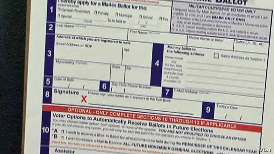 An application for vote by mail ballot