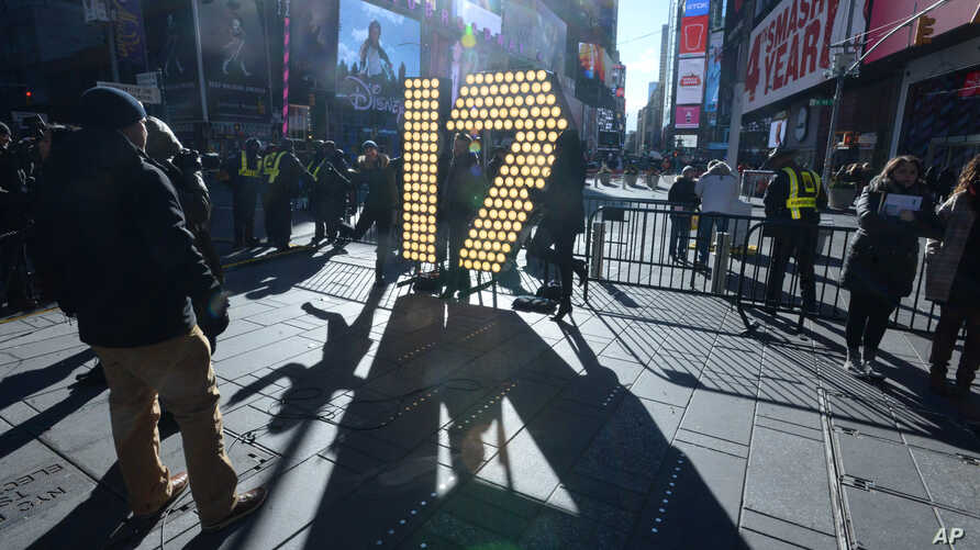 New Year's Eve 2017 numerals arrive in Times Square on a flatbed truck, to be unloaded and brought onto the streets of Times Square for a public unveiling and lighting, Dec 15, 2016.