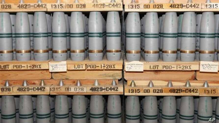 FILE - This Jan. 21, 2010 file photo shows 105mm shells containing mustard agent that are stored in a bunker at the Army's Pueblo Chemical Storage facility in Pueblo, Colo. Blowing up defective chemical weapons inside a closed chamber in Colorado wou