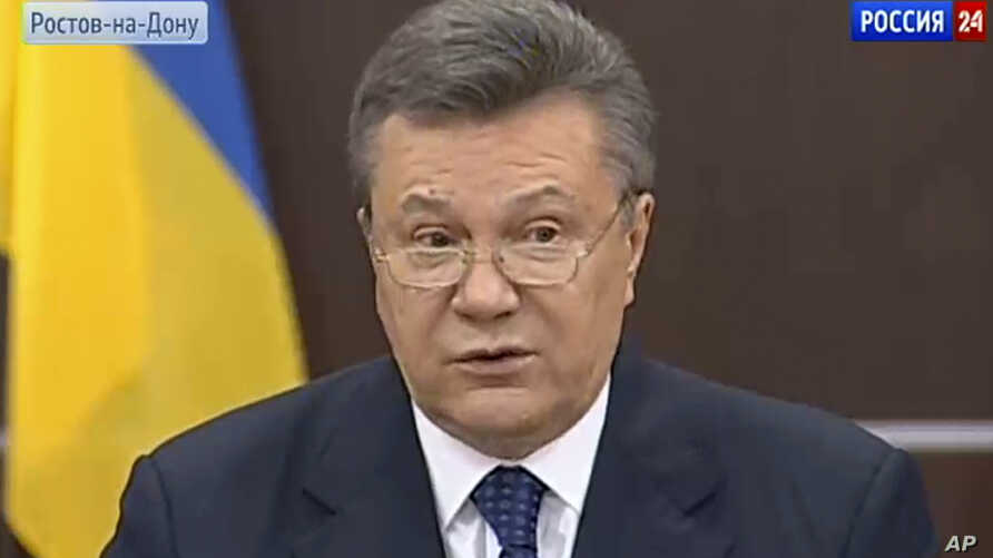 In this framegrab provided by Russian TV Channel Vesti24 via The Associated Press Television News, showing Ukraine's fugitive president, Viktor Yanukovych speaking on Russian state television in Rostov-on-Don, Russia, Sunday, April 13, 2014
