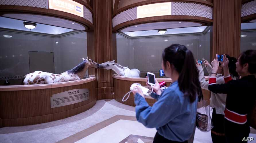 FILE - Visitors take pictures and look around at the Horse Culture Museum, part of an equestrian-themed town in Jiangyin, Jiangsu province, some 200 kilometres northwest of Shanghai, China, Oct. 20, 2018.
