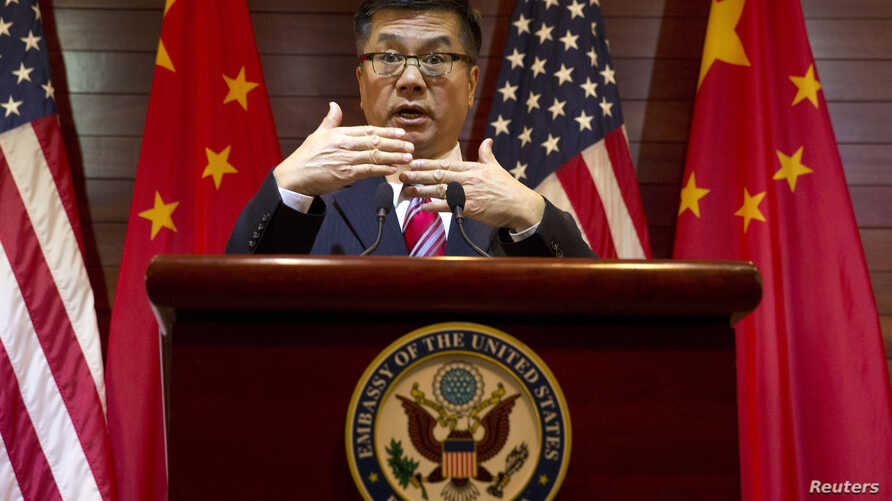 Outgoing U.S. ambassador to China, Gary Locke speaks during a farewell news conference held at the U.S. embassy in Beijing, Feb. 27, 2014.