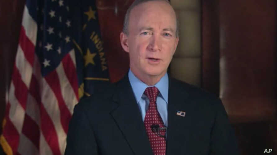 Indiana Governor Mitch Daniels delivers the Republican response to President Obama's State of the Union speech, Jan 24, 2012