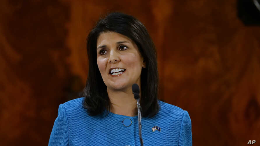 FILE - South Carolina Gov. Nikki Haley delivers her State of the State address to the joint session of the legislature, at the Statehouse in Columbia, S.C., Jan. 21, 2015.