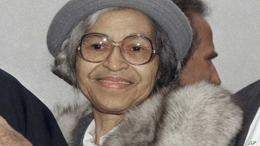 FILE - This Oct. 28, 1986, photo shows Rosa Parks at Ellis Island in New York.
