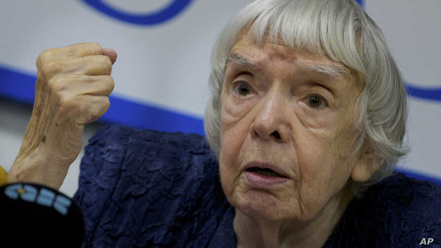 FILE - Russian human rights activist Lyudmila Alexeyeva speaks at a news conference in Moscow, Sept. 27, 2012.