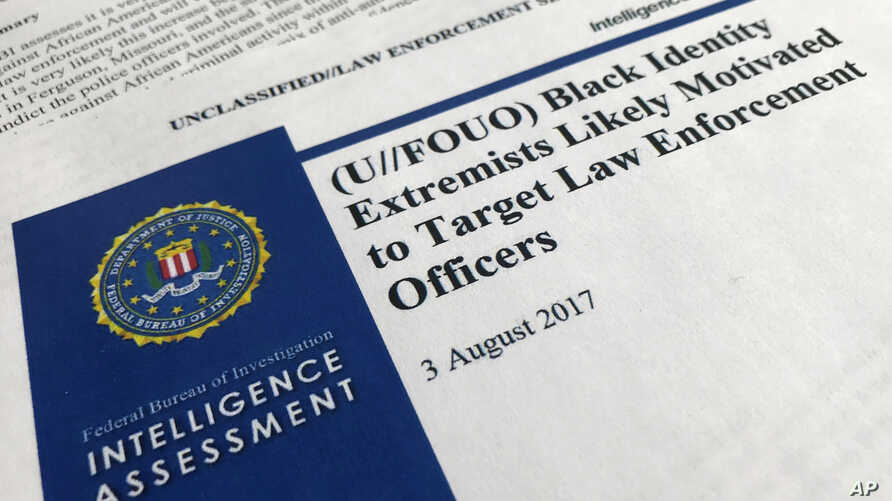 """The cover page of a FBI report on the rise of black """"extremists"""" is photographed in Washington, Nov. 17, 2017. The report is stirring fears of a return to practices of the Civil Rights era, when the agency notoriously spied on activist groups without"""