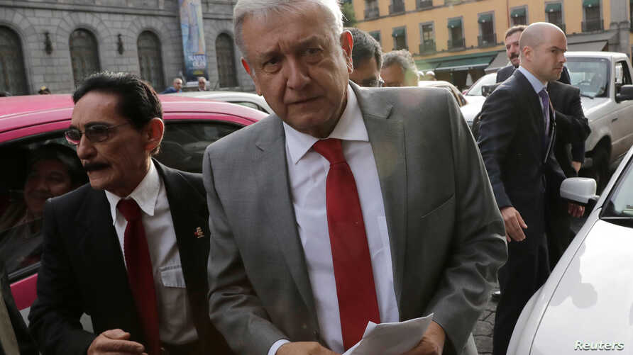 Mexico's President-elect Andres Manuel Lopez Obrador arrives at the Palace of Mines in Mexico City, Mexico, Aug. 6, 2018.