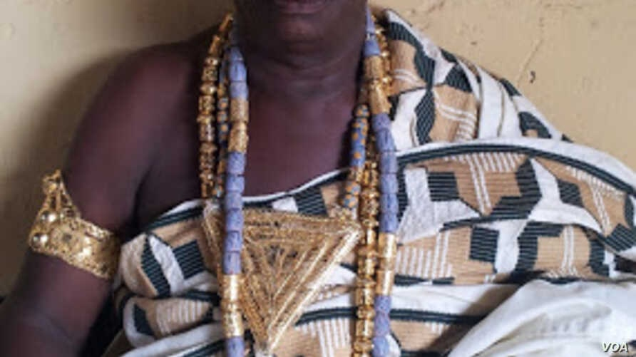 Nae Afisi Dankwah has guided the traditions and behaviors of his Awutu Akropong neighbors for three decades. (Photo by Joana Mantey)