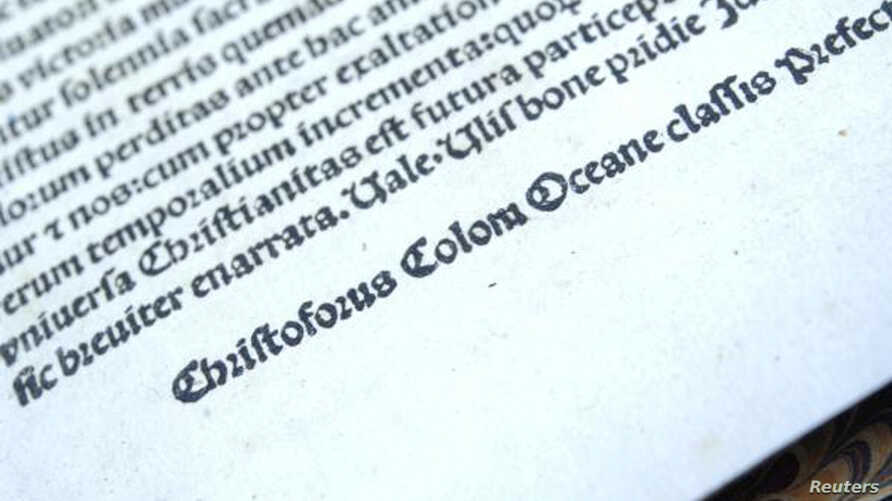 A book published in 1493 of a Latin translation by Leandro di Cosco of the letter by Christopher Columbus describing his discoveries in the Americas, which was stolen from the National Library of Catalonia in Barcelona and sold for approximately $1 m