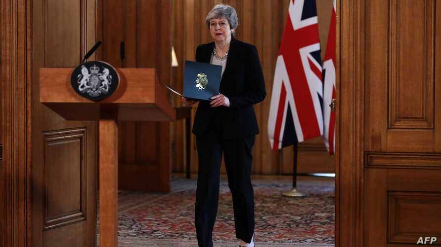 Britain's Prime Minister Theresa May prepares to give a statement inside 10 Downing Street in London, April 2, 2019.