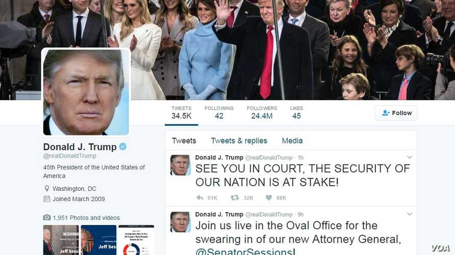 President Donald J. Trump's Twitter page