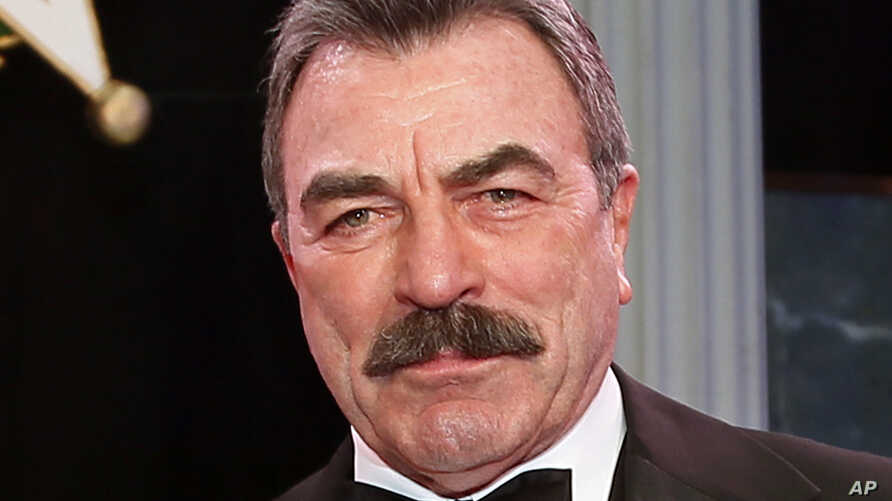 FILE - Tom Selleck  is shown during Oklahoma Hall of Fame induction ceremonies in Oklahoma City, Nov. 16, 2017.