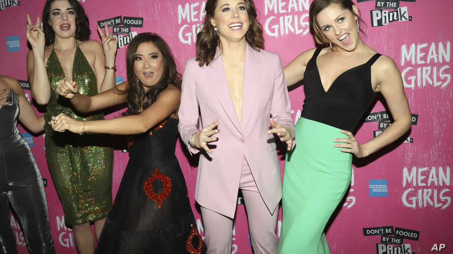 "Barrett Wilbert Weed, from left, Ashley Park, Erika Henningsen and Taylor Louderman attend the after party for the ""Mean Girls"" opening night on Broadway at Tao Downtown on Sunday, April 8, 2018, in New York."