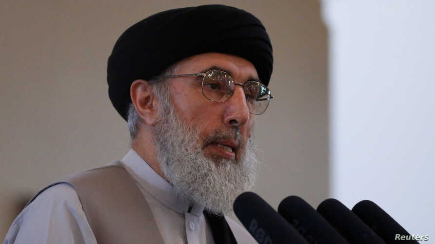 Afghan warlord Gulbuddin Hekmatyar speaks during a welcoming ceremony at the presidential palace in Kabul, Afghanistan, May 4, 2017.