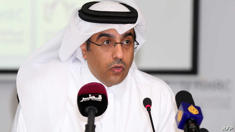 Ali bin Smaikh al-Marri, Chairman of Qatar's National Human Rights Committee gives a press conference in Doha, on June 8, 2017.