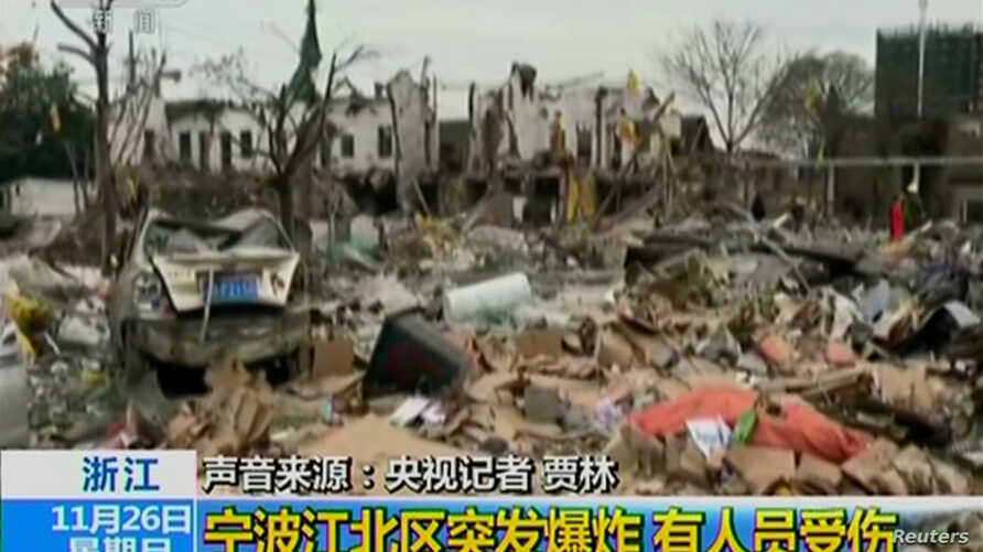 Debris is seen after an explosion in Ningbo City, in China's eastern Zhejiang province, in this image from a handout video obtained by Reuters, Nov. 26, 2017.