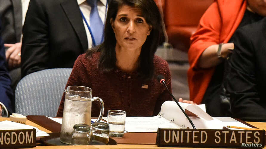 U.S. Ambassador to the United Nations Nikki Haley delivers remarks at a security council meeting at U.N. headquarters during the United Nations General Assembly in New York City, Sept. 21, 2017.