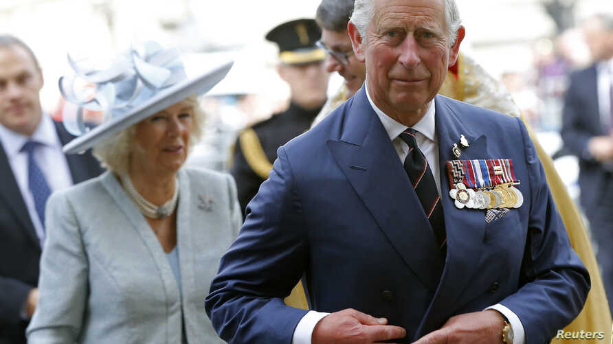 Britain's Prince Charles and his wife Camilla, Duchess of Cornwall arrive at Westminster Abbey in central London May 10, 2015.