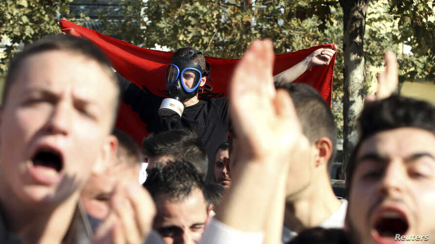 Demonstrators protest against the potential dismantling of Syrian chemical weapons in Albania in front of the Parliament in Tirana, Nov. 14, 2013.