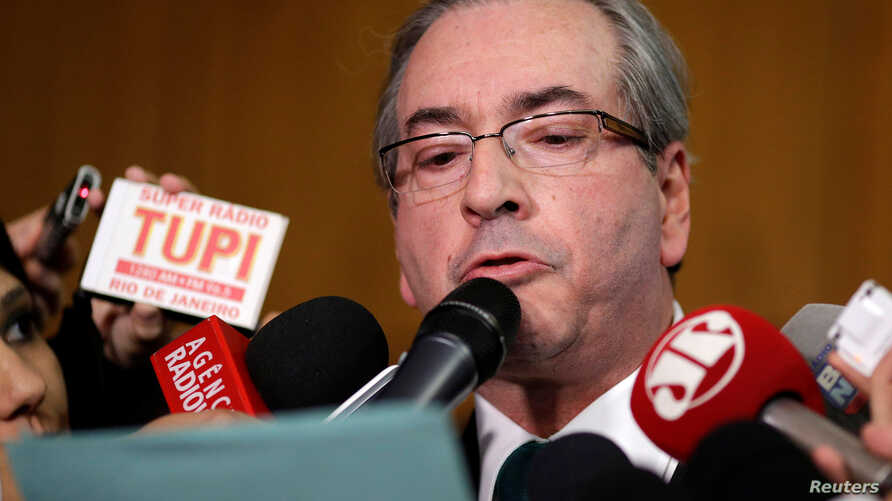 Brazilian suspended House Speaker Eduardo Cunha speaks during a news conference at the National Congress in Brasilia, Brazil July 7, 2016.
