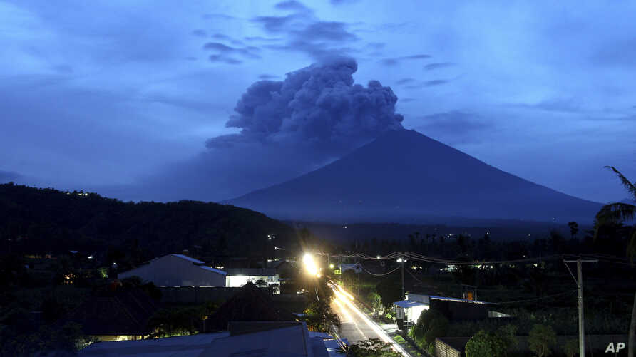 A view of Mount Agung volcano erupting in Karangasem, Bali, Indonesia, Nov. 28, 2017.
