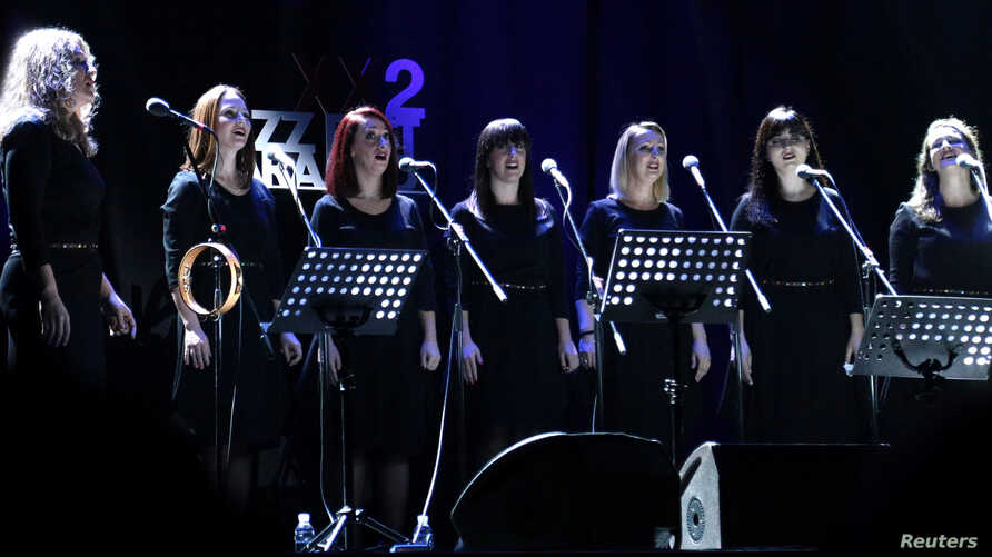 Vocal ensemble Corona performs during the 22nd Jazz Fest in Sarajevo, Bosnia and Herzegovina, Nov. 4, 2018.