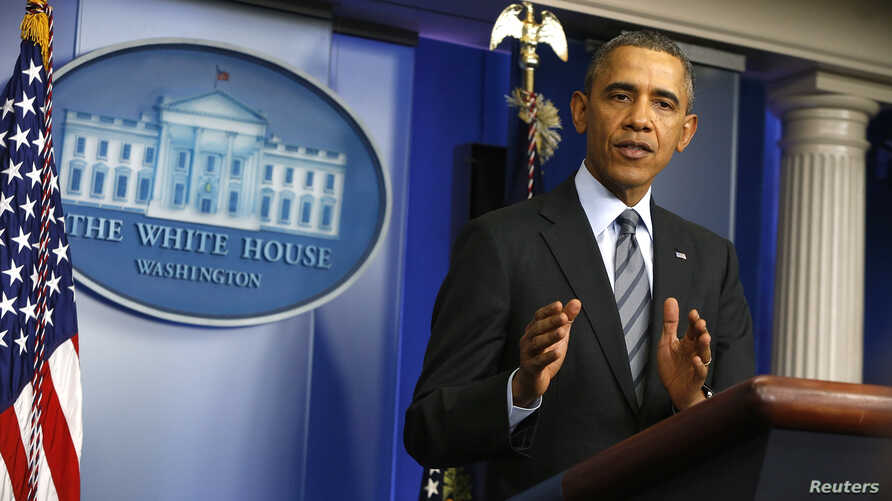 U.S. President Barack Obama delivers a statement on the situation in Ukraine in the press briefing room at the White House in Washington, March 6, 2014.