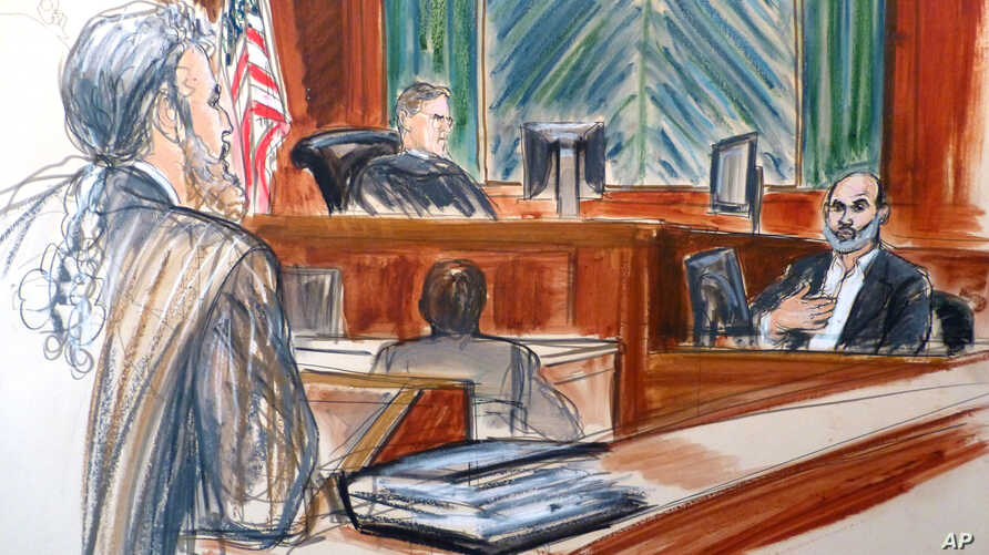 In this courtroom sketch, Osama bin Laden's son-in-law Sulaiman Abu Ghaith, right, testifies at his trial, March 19, 2014, in New York, on charges he conspired to kill Americans and aid al-Qaida as a spokesman for the terrorist group.