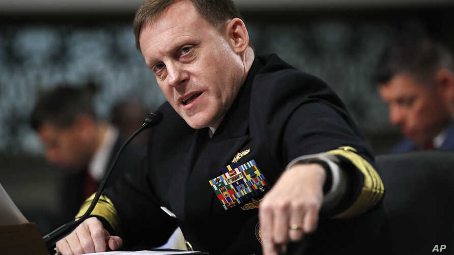 U.S. Cyber Command and National Security Agency Director Admiral Mike Rogers testifies on Capitol Hill in Washington before the Senate Armed Services Committee, May 9, 2017.