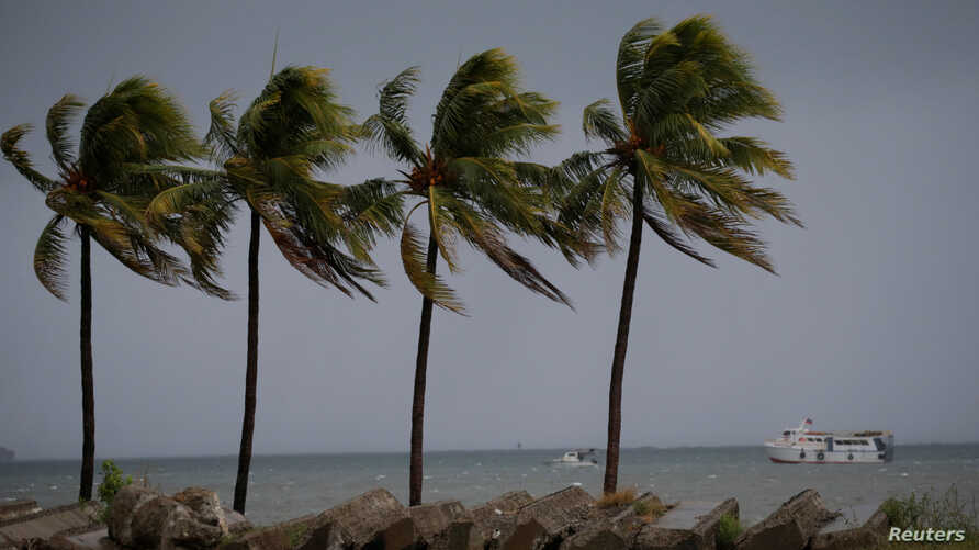 FILE - Boats are seen as palms are moved by the wind in Cap-Haitien, Haiti, Sept. 7, 2017.