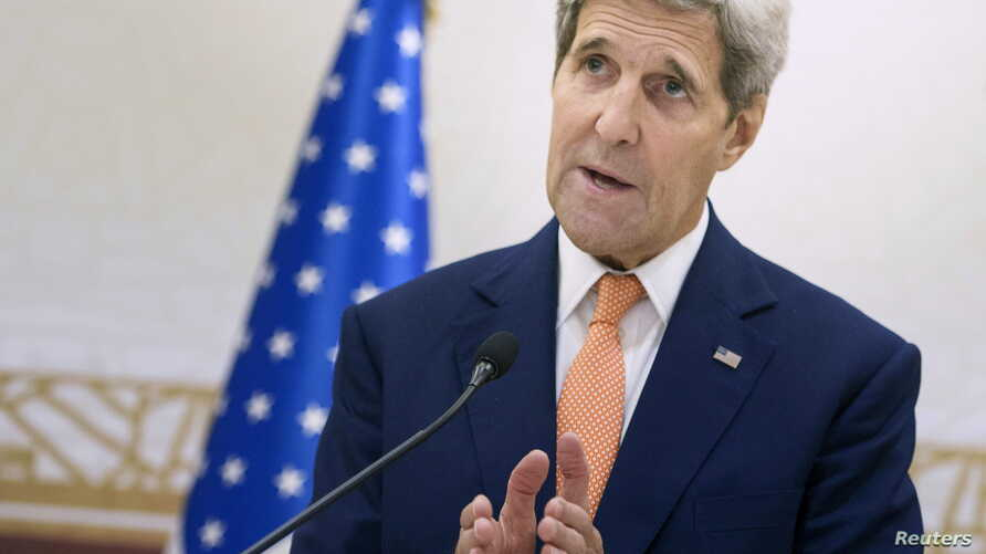 U.S. Secretary of State John Kerry speaks during a news conference following a meeting with foreign ministers of the Gulf Cooperation Council (GCC) in Doha, Qatar Aug. 3, 2015.