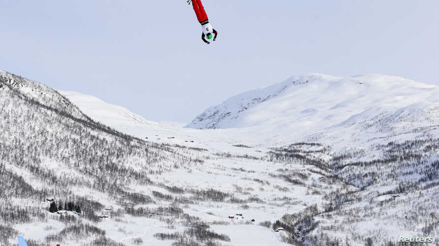Qi Guangpu of China competes in the Men's Aerials race at the FIS Freestyle World Ski Championships in Voss, Norway, March 7, 2013.